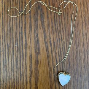 Opalescent and gold heart pendant necklace